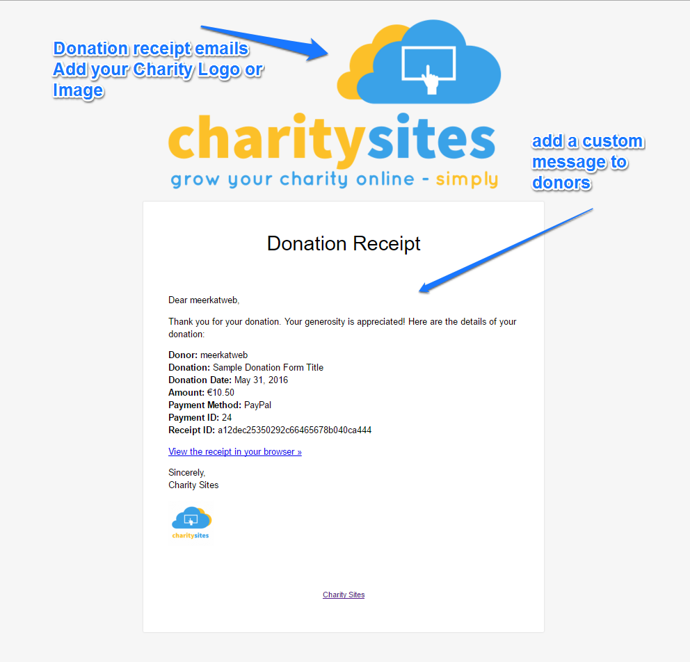 Online charity donations software charity sites brand customise donation receipts emails altavistaventures Images