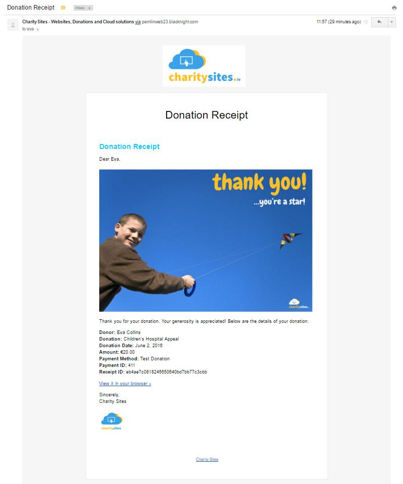 Custom Donation Email Receipts with your Logo, Colours etc